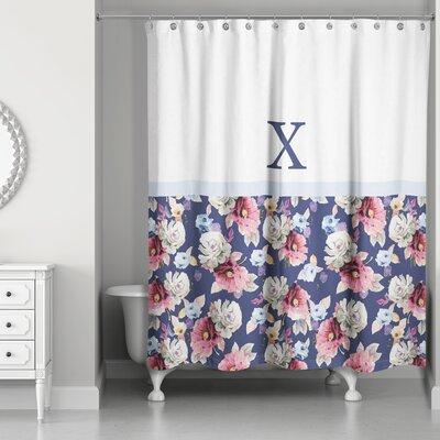 Arquette Floral Monogrammed Shower Curtain Letter: X