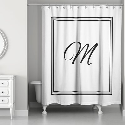 Ashbrook Classic Monogrammed Shower Curtain Letter: M