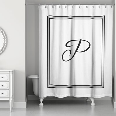 Ashbrook Classic Monogrammed Shower Curtain Letter: P