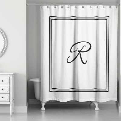 Ashbrook Classic Monogrammed Shower Curtain Letter: R