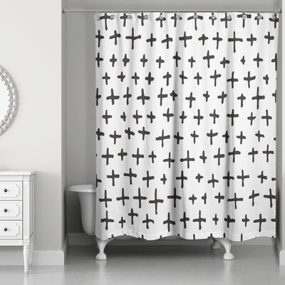 Nunley Hand-Drawn Swiss Cross Shower Curtain