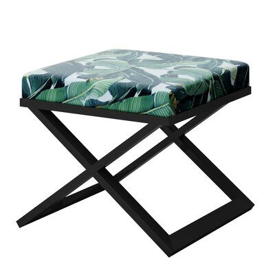 Ahumada Tropical Leaf Beverly Hills Hotel Contemporary Vanity Stool Finish: Black