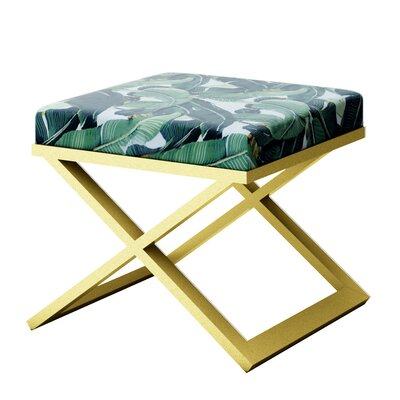 Ahumada Tropical Leaf Beverly Hills Hotel Contemporary Vanity Stool Finish: Gold