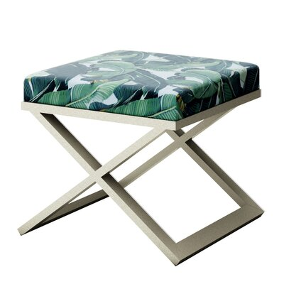 Ahumada Tropical Leaf Beverly Hills Hotel Contemporary Vanity Stool Finish: Silver