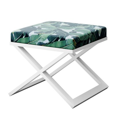Ahumada Tropical Leaf Beverly Hills Hotel Contemporary Vanity Stool Finish: White