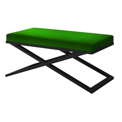 "Ahumada X-Base Velvet Upholstered Bench Color: Black, Size: 22"" H x 48"" W x 24"" D, Upholstery: Green"
