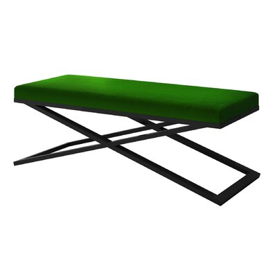 "Ahumada X-Base Velvet Upholstered Bench Color: Black, Size: 22"" H x 60"" W x 24"" D, Upholstery: Green"