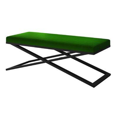 "Ahumada X-Base Velvet Upholstered Bench Color: Black, Size: 22"" H x 60"" W x 24"" D, Upholstery: Green"