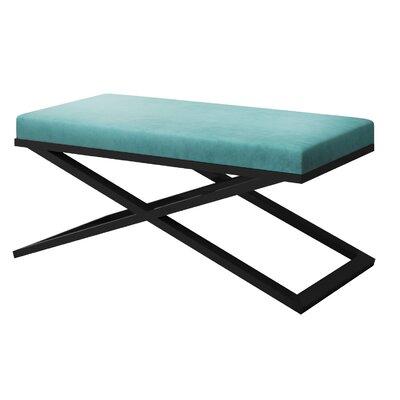 "Ahumada X-Base Velvet Upholstered Bench Color: Black, Size: 22"" H x 48"" W x 24"" D, Upholstery: Light Blue"