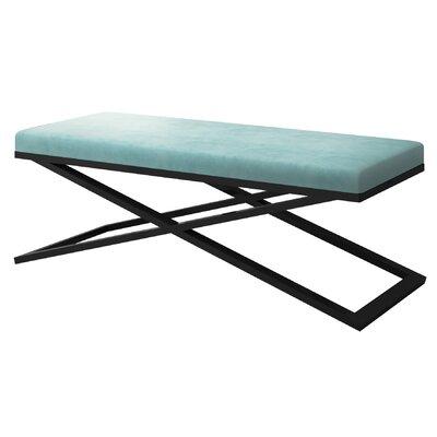 "Ahumada X-Base Velvet Upholstered Bench Color: Black, Size: 22"" H x 60"" W x 24"" D, Upholstery: Light Blue"