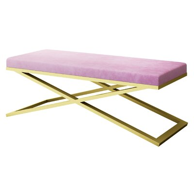 "Ahumada X-Base Velvet Upholstered Bench Color: Gold, Size: 22"" H x 60"" W x 24"" D, Upholstery: Light Pink"