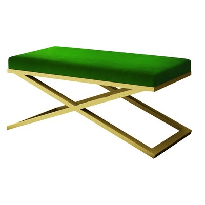 """Ahumada X-Base Velvet Upholstered Bench Size: 22"""" H x 48"""" W x 24"""" D, Color: Gold, Upholstery: Green"""