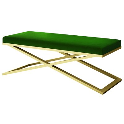 """Ahumada X-Base Velvet Upholstered Bench Color: Gold, Size: 22"""" H x 60"""" W x 24"""" D, Upholstery: Green"""