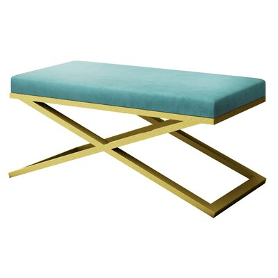 "Ahumada X-Base Velvet Upholstered Bench Size: 22"" H x 48"" W x 24"" D, Color: Gold, Upholstery: Light Blue"