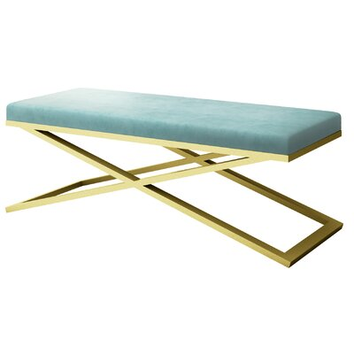 "Ahumada X-Base Velvet Upholstered Bench Color: Gold, Size: 22"" H x 60"" W x 24"" D, Upholstery: Light Blue"