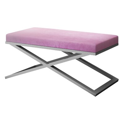 "Ahumada X-Base Velvet Upholstered Bench Size: 22"" H x 48"" W x 24"" D, Color: Silver, Upholstery: Light Pink"