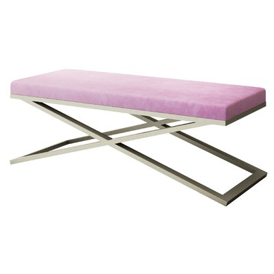 "Ahumada X-Base Velvet Upholstered Bench Color: Silver, Size: 22"" H x 60"" W x 24"" D, Upholstery: Light Pink"