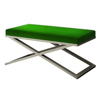 """Ahumada X-Base Velvet Upholstered Bench Size: 22"""" H x 48"""" W x 24"""" D, Color: Silver, Upholstery: Green"""