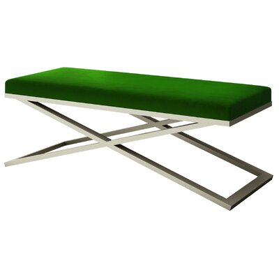 """Ahumada X-Base Velvet Upholstered Bench Color: Silver, Size: 22"""" H x 60"""" W x 24"""" D, Upholstery: Green"""