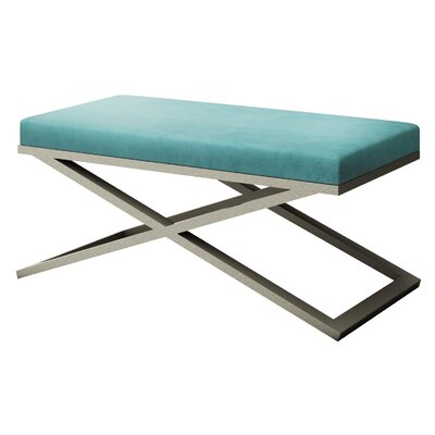 """Ahumada X-Base Velvet Upholstered Bench Size: 22"""" H x 48"""" W x 24"""" D, Color: Silver, Upholstery: Light Blue"""