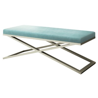 """Ahumada X-Base Velvet Upholstered Bench Color: Silver, Size: 22"""" H x 60"""" W x 24"""" D, Upholstery: Light Blue"""