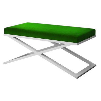 "Ahumada X-Base Velvet Upholstered Bench Size: 22"" H x 48"" W x 24"" D, Color: White, Upholstery: Green"