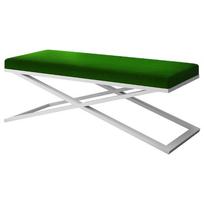 "Ahumada X-Base Velvet Upholstered Bench Color: White, Size: 22"" H x 60"" W x 24"" D, Upholstery: Green"
