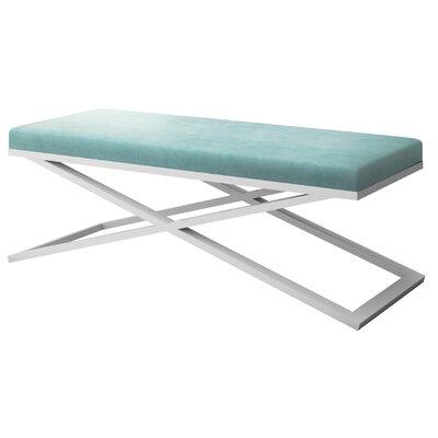 """Ahumada X-Base Velvet Upholstered Bench Color: White, Size: 22"""" H x 60"""" W x 24"""" D, Upholstery: Light Blue"""