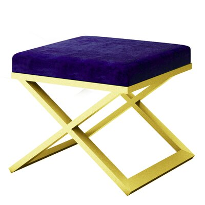 Ahumada X-Base Solid Velvet Contemporary Vanity Stool Frame Color: Gold, Seat Color: Navy Blue