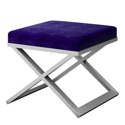 Ahumada X-Base Solid Velvet Contemporary Vanity Stool Frame Color: Silver, Seat Color: Navy Blue