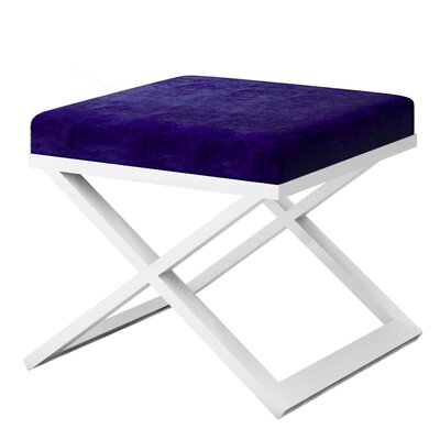 Ahumada X-Base Solid Velvet Contemporary Vanity Stool Frame Color: White, Seat Color: Navy Blue