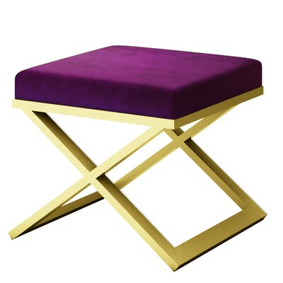 Ahumada X-Base Solid Velvet Contemporary Vanity Stool Frame Color: Gold, Seat Color: Purple/Violet