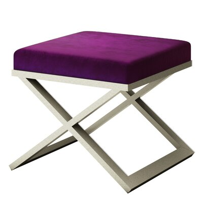 Ahumada X-Base Solid Velvet Contemporary Vanity Stool Frame Color: Silver, Seat Color: Purple/Violet