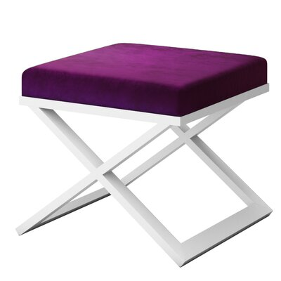 Ahumada X-Base Solid Velvet Contemporary Vanity Stool Frame Color: White, Seat Color: Purple/Violet