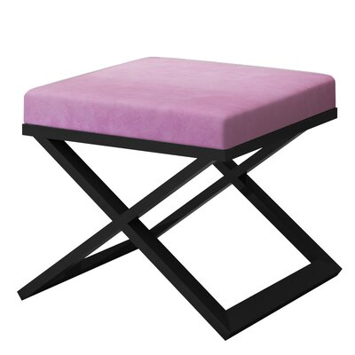 Ahumada X-Base Solid Velvet Contemporary Vanity Stool Frame Color: Black, Seat Color: Light Pink