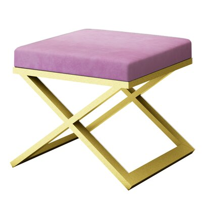 Ahumada X-Base Solid Velvet Contemporary Vanity Stool Frame Color: Gold, Seat Color: Light Pink