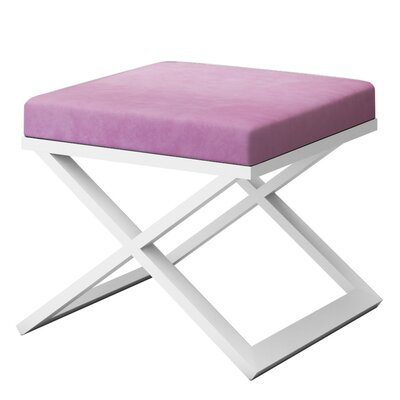 Ahumada X-Base Solid Velvet Contemporary Vanity Stool Frame Color: White, Seat Color: Light Pink