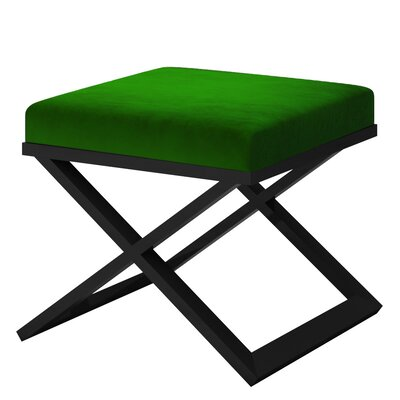 Ahumada X-Base Solid Velvet Contemporary Vanity Stool Frame Color: Black, Seat Color: Green