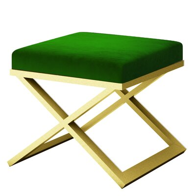 Ahumada X-Base Solid Velvet Contemporary Vanity Stool Frame Color: Gold, Seat Color: Green