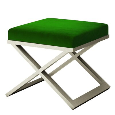 Ahumada X-Base Solid Velvet Contemporary Vanity Stool Frame Color: Silver, Seat Color: Green