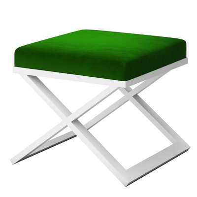 Ahumada X-Base Solid Velvet Contemporary Vanity Stool Frame Color: White, Seat Color: Green