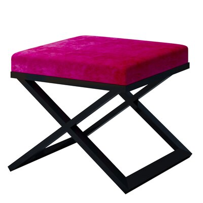 Ahumada X-Base Solid Velvet Contemporary Vanity Stool Frame Color: Black, Seat Color: Purple/Violet