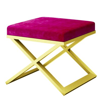 Ahumada X-Base Solid Velvet Contemporary Vanity Stool Frame Color: Gold, Seat Color: Magenta
