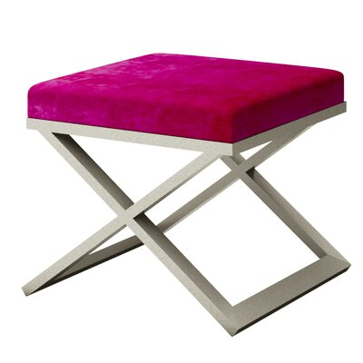 Ahumada X-Base Solid Velvet Contemporary Vanity Stool Frame Color: Silver, Seat Color: Magenta