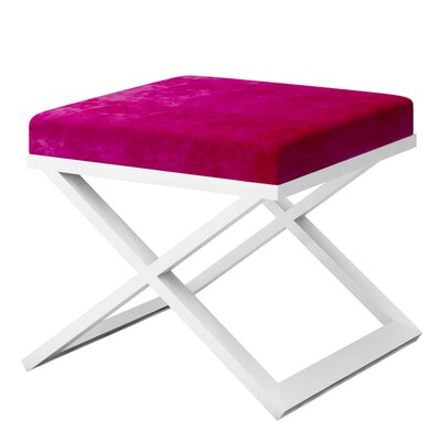Ahumada X-Base Solid Velvet Contemporary Vanity Stool Frame Color: White, Seat Color: Magenta