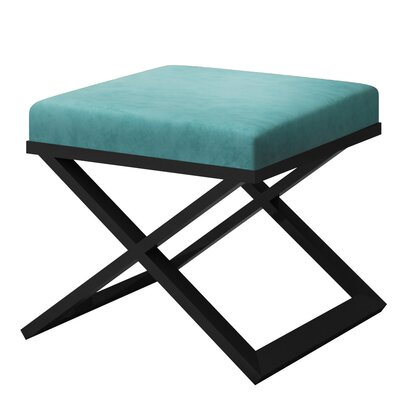 Ahumada X-Base Solid Velvet Contemporary Vanity Stool Frame Color: Black, Seat Color: Light Blue