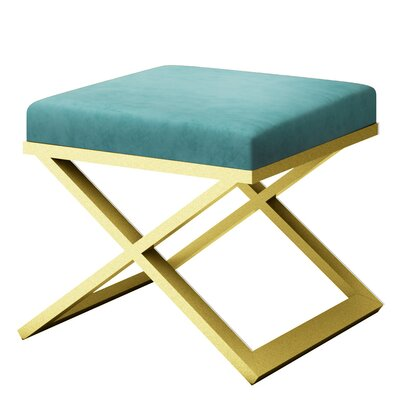 Ahumada X-Base Solid Velvet Contemporary Vanity Stool Frame Color: Gold, Seat Color: Light Blue