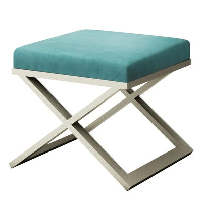 Ahumada X-Base Solid Velvet Contemporary Vanity Stool Frame Color: Silver, Seat Color: Light Blue