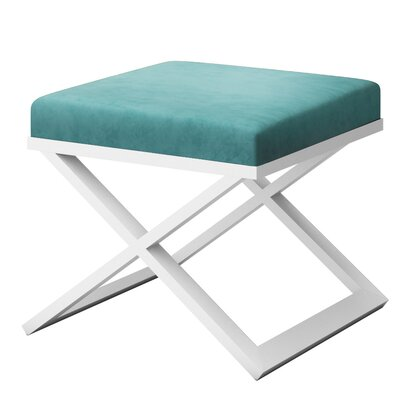 Ahumada X-Base Solid Velvet Contemporary Vanity Stool Frame Color: White, Seat Color: Light Blue