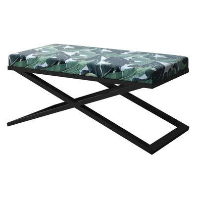 "Ahumada X-Base Upholstered Bench Color: Black, Size: 22"" H x 48"" W x 24"" D"